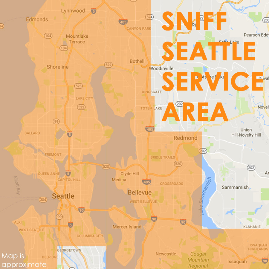 Map Of Service Area For SNIFF Seattle Dog Walkers