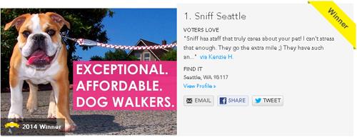 Sniff Seattle BEST Dog Walker, Sniff Seattle BEST Pet Sitting, 2014 Best Of Western Washington